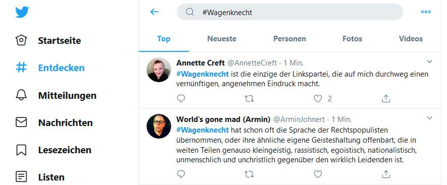 Screenshot Twitter.Top-Empfehlung. Wüste Diskussionen zu Wagenknecht.