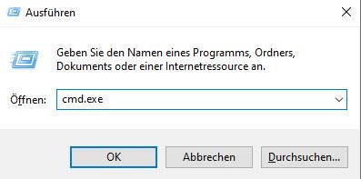 """Screenshot des Eingabefelds, das sich in Windows 10 durch Windows+R erzeugen lässt. Der Schriftzug """"cmd.exe"""" eingefügt."""