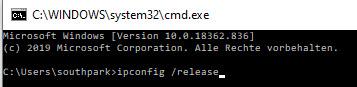 Windows-Eingabemaske mit Befehl ipconfig /release