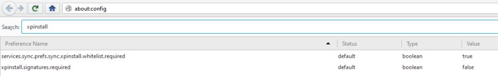Screenshot Pale Moon Browser. Die Einstellung xpinstall.signatures.required gesetzt auf False.