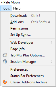 Screenshot Pale Moon Browser. Das Tools-Menü mit installiertem Classic Add-ons Archive.