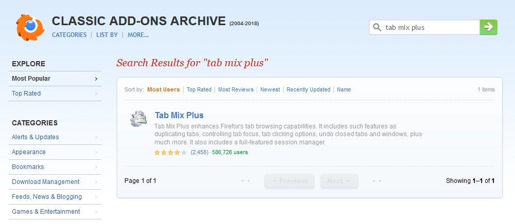 Screenshot Pale Moon mit installiertem Classic Add-ons Archive. Das Suchergebnis für Tab Mix Pluus.