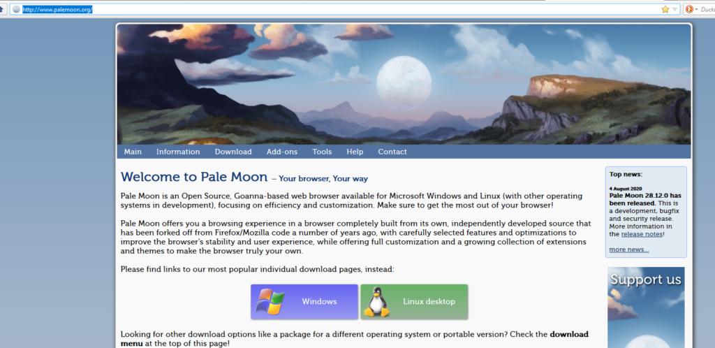 Screenshot der Pale-Moon-Homepage mit Downloadmöglichkeiten.