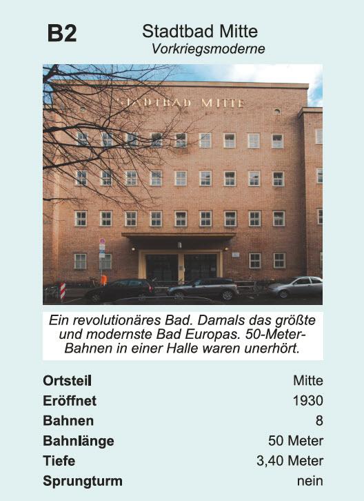"""Quartettkarte """"Stadtbad Mitte"""" im Quartett Schwimmbäder in Berlin / Zitronenpresse"""